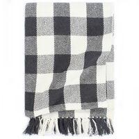 vidaXL Декоративно одеяло, памук, каре, 220x250 см, антрацит
