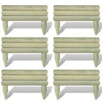 vidaXL Мини оградни панели за лехи, 6 бр, борова дървесина, 60 см