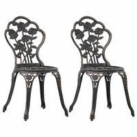 vidaXL Бистро столове, 2 бр, бронз, лят алуминий