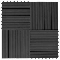 vidaXL 11 бр декинг плочки, WPC, 30x30 см, 1 кв.м., черни