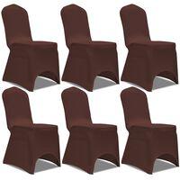 vidaXL Покривни калъфи за столове, еластични, 6 бр, кафяво