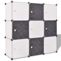 vidaXL Шкаф за съхранение, на кубове, 9 отделения, чернобял