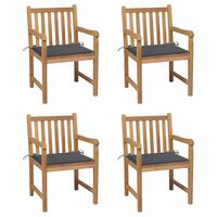 vidaXL Градински столове 4 бр възглавници антрацит тиково дърво масив
