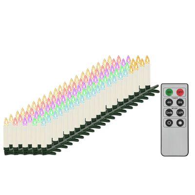 vidaXL Безжични коледни LED свещи с дистанционно управление 100 бр RGB