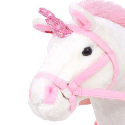 vidaXL Плюшен еднорог за езда, бяло и розово, XXL