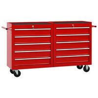 vidaXL Количка за инструменти с 10 чекмеджета, стомана, червена
