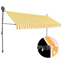 vidaXL Ръчно прибиращ се сенник с LED, 400 см, бяло и оранжево