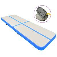 vidaXL Надуваем дюшек за гимнастика с помпа, 300x100x15 см, PVC, син