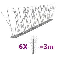 vidaXL 5-редови иноксови шипове срещу птици и гълъби, 6 бр, 3 м