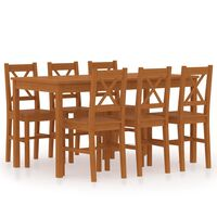 vidaXL Трапезен комплект, 7 части, борова дървесина, меденокафяв