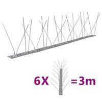 vidaXL 4-редови иноксови шипове срещу птици и гълъби, 6 бр, 3 м