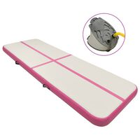 vidaXL Надуваем дюшек за гимнастика с помпа, 500x100x15 см, PVC, розов
