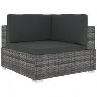 vidaXL Модулен ъглов фотьойл с възглавници, 1 бр, полиратан, сив