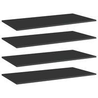 vidaXL Рафтове за етажерка, 4 бр, черен гланц, 80x30x1,5 см, ПДЧ