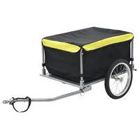 vidaXL Товарно ремарке за колело, черно и жълто, 65 кг