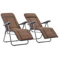 vidaXL Сгъваеми градински столове с възглавници, 2 бр, кафяви