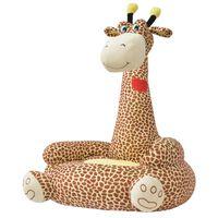 vidaXL Плюшен детски стол, жираф, кафяв