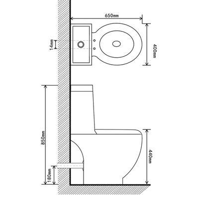 vidaXL Керамична тоалетна задно оттичане черна