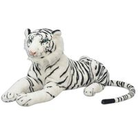vidaXL Плюшена детска играчка-тигър, бяла, XXL