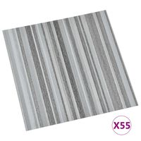 vidaXL Самозалепващи подови дъски, 55 бр, PVC, 5,11 м², светлосиви