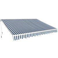 vidaXL Сенник, прибиращ се, с ръчно задвижване, 350 см, синьо и бяло