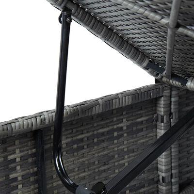 vidaXL Шезлонг с шалте, полиратан, сив