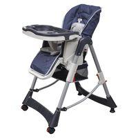 vidaXL vidaXL Бебешки стол за хранене, тъмносин, регулируема височина