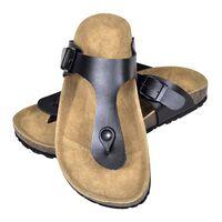vidaXL Дамски чехли от био корк с лента м/у пръстите черни размер 38