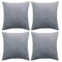 vidaXL Калъфки за възглавници, 4 бр, велур, 40x40 см, сиви