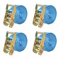 vidaXL Укрепващ колан с тресчотка, 4 бр, 2 тона, 6мх38мм, син