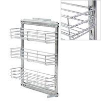 vidaXL 3-етажна издърпваща се кошница за кухня, сребриста, 47x15x56 см