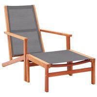vidaXL Градински стол с подложка за крака сив евкалипт масив textilene