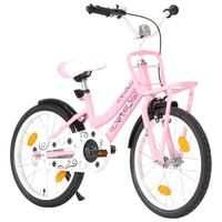 vidaXL Детски велосипед с преден багажник, 18 цола, розово и черно