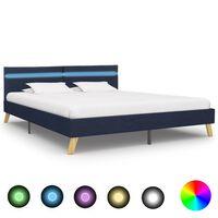 vidaXL Рамка за легло с LED, синя, плат, 180x200 см