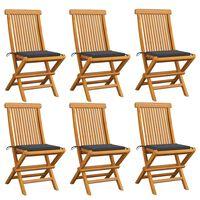 vidaXL Градински столове с възглавници антрацит 6 бр тик масив