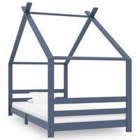 vidaXL Рамка за детско легло, сива, борово дърво масив, 90х200 см