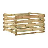 vidaXL Градински ламелен компостер, 120x120x70 см, импрегниран бор