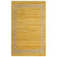 vidaXL Ръчно тъкан килим от юта, жълт, 160x230 см