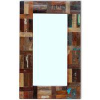 vidaXL Огледало, регенерирано дърво масив, 80x50 см