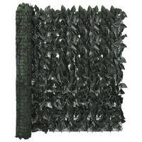 vidaXL Балконски параван с тъмнозелени листа, 400x100 см