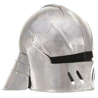vidaXL Средновековен рицарски шлем антик реплика ЛАРП сребрист стомана