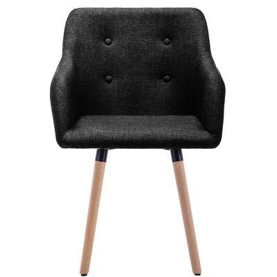 vidaXL Трапезни столове, 2 бр, черни, текстил