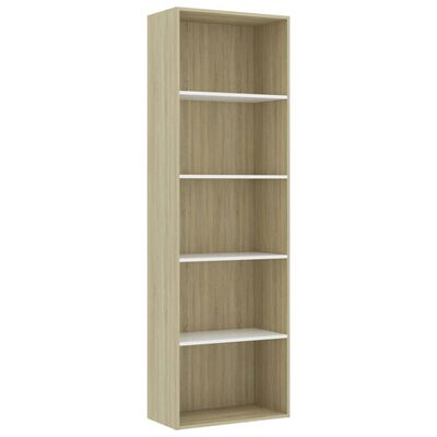 vidaXL 5-етажна библиотека, бяло и дъб сонома, 60x30x189 см, ПДЧ