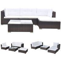 vidaXL Градински комплект с възглавници, 5 части, кафяв полиратан