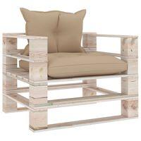 vidaXL Градински палетен диван с бежови възглавници, борово дърво