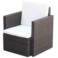 vidaXL Градински стол с възглавници, полиратан, кафяв