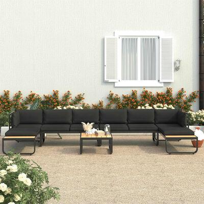 vidaXL Градински ъглов комплект с възглавници, 5 части, алуминий и WPC