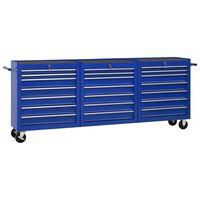 vidaXL Количка за инструменти с 21 чекмеджета, стомана, синя