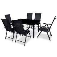 vidaXL Градински комплект със сгъваеми столове 7 части алуминий черен