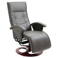 vidaXL Въртящ ТВ фотьойл, сив, изкуствена кожа